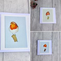 Original watercolour cards hand painted card set of three