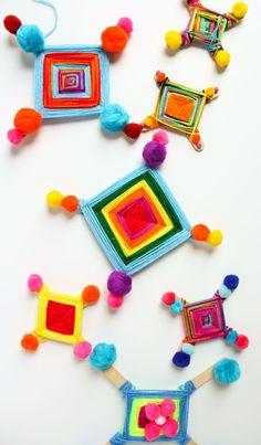 God's Eyes: A Fun Yarn and Pom-Pom Kids Craft! - Design Improvised How to make God's Eyes (Ojo de Dios) – such a fun kids craft idea! Yarn Crafts For Kids, Craft Stick Crafts, Fun Crafts, Arts And Crafts, Crafts Cheap, Holiday Crafts, Summer Camp Crafts, Camping Crafts, Spring Crafts