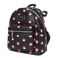 Pokemon Pokeball Black Fashion Mini-Backpack Loungefly Pokemon Backpacks
