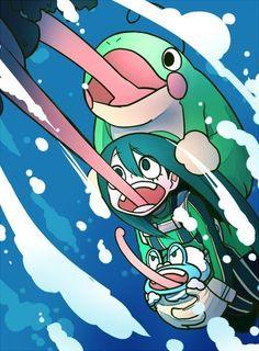 Tsuyu(Pokemon) - Tsuyu y sus ships - Wattpad - Wattpad My Hero Academia Tsuyu, Buko No Hero Academia, My Hero Academia Memes, Hero Academia Characters, My Hero Academia Manga, Pokemon Crossover, Anime Crossover, Tsuyu Asui, Mega Pokemon