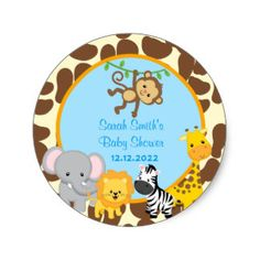 Shop Safari Jungle Baby Shower favor stickers Tags created by SugarPlumPaperie. Baby Shower Gift Bags, Regalo Baby Shower, Baby Shower Invitaciones, Baby Shower Party Favors, Baby Shower Parties, Baby Shower Themes, Shower Ideas, Tag Safari, Safari Theme Party