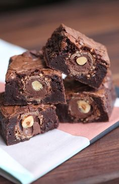 Rocher-Filled Brownies by Miss Renaissance
