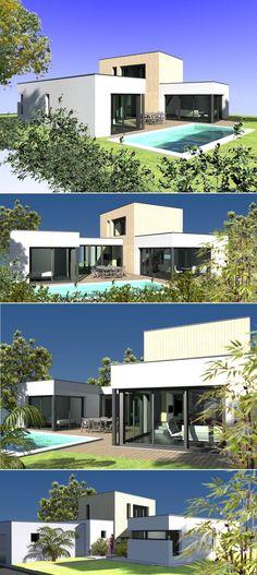 Maison contemporaine Equation Constructeur maison contemporaine - plan maison r 1 gratuit