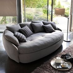 Modern Sofa Top 10 Living Room Furniture Design Trends 2019 contemporary sofa with round shapes and soft upholstery fabric The post Modern Sofa Top 10 Living Room Furniture Design Trends 2019 appeared first on Furniture ideas. Sofa Design, Interior Design, Lobby Interior, Interior Photo, Room Furniture Design, Cool Furniture, Modern Living Room Furniture, Furniture Layout, House Furniture