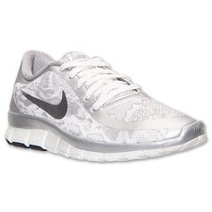 Women\u0026#39;s Nike Free 5.0 V4 Print Running Shoes - 695168 002 | Finish Line | Metallic Silver/Summit White