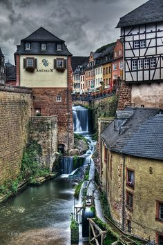 A little waterfall in the city of Saarburg, Germany by Erik Visser