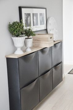 Great solution for narrow spaces. Ikea shoe rack as a chest of drawers . Ikea Schuhregal als Kommode umzaubern Great solution for narrow spaces. Convert Ikea shoe rack as a chest of drawers - Shoe Storage Cabinet, Decor, Home Diy, Home Organization, Home Decor, House Interior, Ikea, Ikea Wall, Home Deco