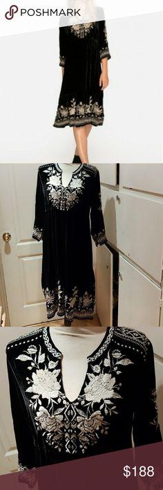 JOHNNY WAS EMBROIDERED BLACK VELVET DRESS SIZE L NWT JOHNNY WAS EMBROIDERED BLACK VELVET DRESS SIZE L model MAGDALENE VELVET PRARIE DRESS JOHNNY WAS Dresses Midi