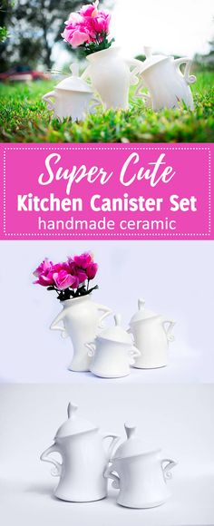 Sooo cute!!! This set feature handles that are inspired by Beauty and the Beast, and women everywhere that know how to put their hands on their hips and show their sassy personality without saying a word. Guaranteed to bring a smile to mom when you bring this unique canister set home as a gift for her. Kitchen Canister Set | Set of 3 | Kitchen Canister | Gift for Her | Inspired by Beauty and the Beast handmade #gifts #canister #kitchenideas #cute #beautyandthebeast #vases