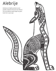 Mexican Folk Art Animal Drawings | Alebrije coyote coloring page - shows patterns