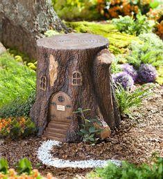 Fake, but cute, Fairy Tree Stump Stool Garden Tree House, Fairy Tree Houses, Fairy Village, Gnome House, Fairy Garden Houses, Garden Trees, Garden Deco, Garden Art, Baumgarten