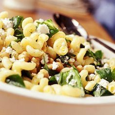 My favorite pasta, hands down. I usually add sun dried tomatoes, as well. --> Cavatappi with Spinach, Garbanzo Beans, and Feta