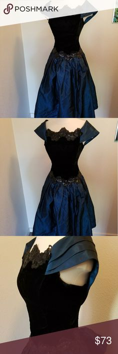 Awesome vintage Scott Mcclintock royal blue velvet Vintage Scott Mcclintock royal blue and velvet ball gown. Straight out of the 80s with the classic 50s style. Tag says size 6 meaning size 1-2 in measurements now. Sequined and beautiful perfect for a christmas party.  New years eve party Vintage Dresses Prom