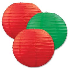 Red and Green Christmas Paper Lanterns (6ct)