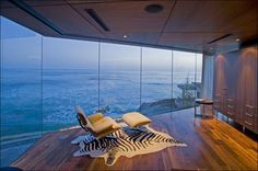 Zibra area rug, awesome view in this luxury Residence in La Jolla, California by Architect Jonathan Segal.