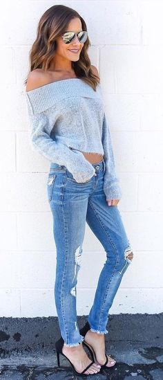 #pretty #winter #outfits /  Grey Off Shoulder Knit // Ripped Jeans // Black Sandals