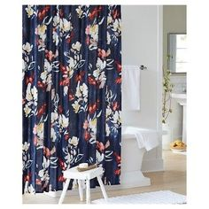 Floral Print Shower Curtain - Blue - Threshold, Xavier Navy
