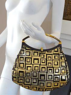 7a784a4d4efa RESERVED for JANET vintage new VERSACE medusa black gold 2 way clutch suede  leather purse handbag