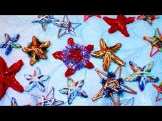 Como tejer los adornos navidenos de papel reciclado. Parte 4.