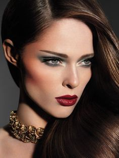 Tom Ford Eye Color Quad in Sahara Haze and Lip Color in Scarlet Rouge. Tom Ford necklace. Makeup by James Kaliardos. Hair by Gavin Harwin for Redken at Art Department. Model: Coco Rocha at Wilhelmina NY. Photography assistants: Brian Kennedy and Gregory Costanzo.    Read More http://www.wmagazine.com/beauty/2011/10/tom-ford-beauty-collection#ixzz23NQQPECq