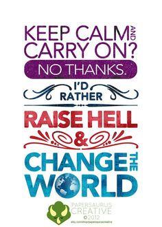 Keep Calm or Raise Hell Card by PapersaurusCreative on etsy