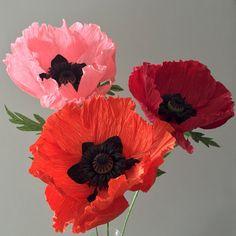 Crepe Paper Flower Single Stem Oriental Poppy by NectarHollow