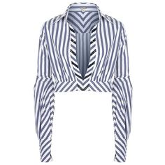 Johanna Ortiz Lover Striped Shirt ($1,100) ❤ liked on Polyvore featuring tops, blouses, striped shirt, white v neck top, white striped shirt, striped tops and long white shirt