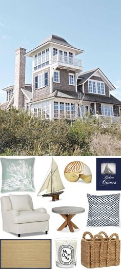 CHIC COASTAL LIVING grey shingles with white trim would match beach cottage and look fresh and beachy