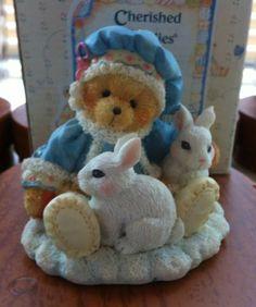 Enesco Cherished Teddies Sonja Holiday Cuddles #622818 Bear W/rabbit