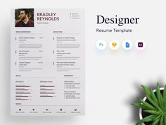 3 page Designer CV/Resume Template - Get PSD & Sketch Resume Templates Cv Design, Resume Design, Resume Skills Section, Lato Font, Cv Resume Template, Resume Tips, Texts, Meant To Be, Initials