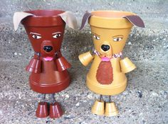 12 Planter Pot Person people Dog Puppy Very by GARDENFRIENDSNJ, $30.00