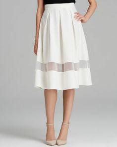 AQUA Skirt - Sheer Inset Midi Bloomingdale's
