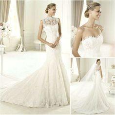 WM088 Elegant Sheer Straps Vintage Lace High Neck Mermaid Wedding Dress 2013