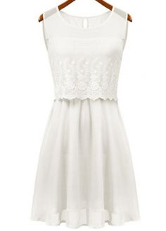 New Arrival Round Neck Sleeveless Chiffon Dress White  with cheap wholesale price, buy New Arrival Round Neck Sleeveless Chiffon Dress White  at wholesaleitonline.com !