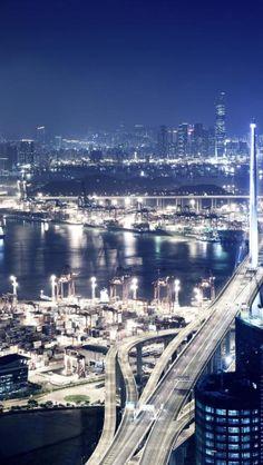Port, City, Night, Seaside, Light, Landscape