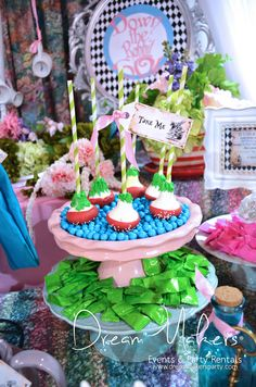 Treats at a Alice in Wonderland Quinceañera Party!  See more party ideas at CatchMyParty.com!