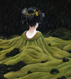 These surreal paintings cloak people in landscapes