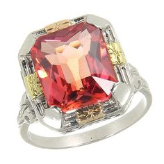 White Gold Vintage Art Deco Filigree Pink Padparadscha Sapphire Ring  My husband and I need to talk about this , you can bet that'll be a quick conversation !!! I love him anyway :-)