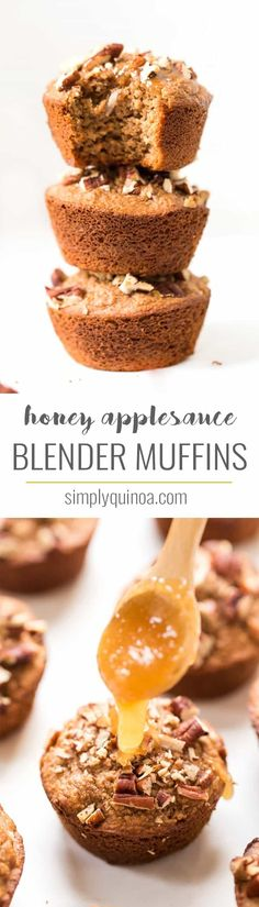Made in your BLENDER in just 5 minutes, these Healthy Honey Applesauce Muffins make a deliciously healthy breakfast or sweet snack!