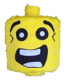 Handmade LEGO Head Pinata A Pinata is a traditional Mexican party game, now gaining huge popularity in the U. Ours are handmade from papier-mache, crepe paper Paper Mache Head, Lego Head, Mexican Party, Party Guests, Crepe Paper, Party Games, Sweets, Trap Door, Tableware