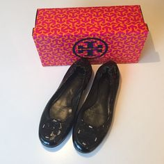 Tory Burch Reva Patent Leather Tory Burch Reva in black patent leather. Man made soles. Patent leather logo. Elasticized heels for good fit. Great condition. Tory Burch Shoes Flats & Loafers