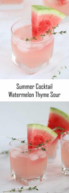 Watermelon Sour Thyme Drink - Renana's Kitchen #Renana'sKitchen #kitchen #recipe #blog #summerdrink #drinks#watermelonsour #cocktail #summercocktail