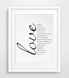Love is Patient, Love is Kind, Bible Verse Print, 1 Corinthians 13 : 4-8, Christian Print, Bible Print, Bible Art, Scripture, Printable on Etsy, $5.58 CAD
