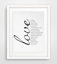 Love is Patient, Love is Kind, Bible Verse Print, 1 Corinthians 13 : 4-8, Christian Print, Bible Print, Bible Art, Scripture Printable #bibleverses
