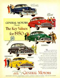 1950 General Motors many models car advertising by DustyDiggerLise Chevy, Chevrolet, General Motors Cars, Pub Vintage, Ad Car, American Classic Cars, Car Posters, Car Advertising, Retro Cars