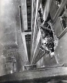 The hole left in the Empire State Building after a B-25 bomber on 355heli s way to Newark Airport crashed into it.