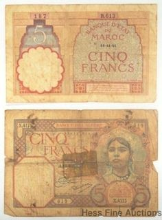Cinq 5 Francs 1941 Morocco 1933 Algeria Currency Note Pair