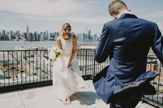 Sweet first look with a scenic view  | Image by Chellise Michael Photography