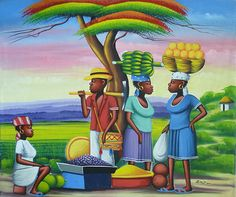 Haitian Painting - Haitian Market People - Haitian Art - Hand Painted Canvas Painting - Original Art of Haiti - x by TropicAccents on Etsy Hand Painted Canvas, Canvas Wall Art, Jamaican Art, Original Art, Original Paintings, Haitian Art, Nature Paintings, Canvas Paintings, Caribbean Art