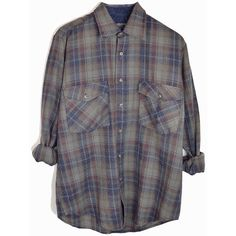 Vintage Gray Blue Plaid Flannel Shirt 80s Plaid Lumberjack Shirt men's... ($32) ❤ liked on Polyvore featuring men's fashion, men's clothing, men's shirts, men's casual shirts, mens gray dress shirt, mens grey shirt, mens vintage shirts and mens plaid flannel shirts